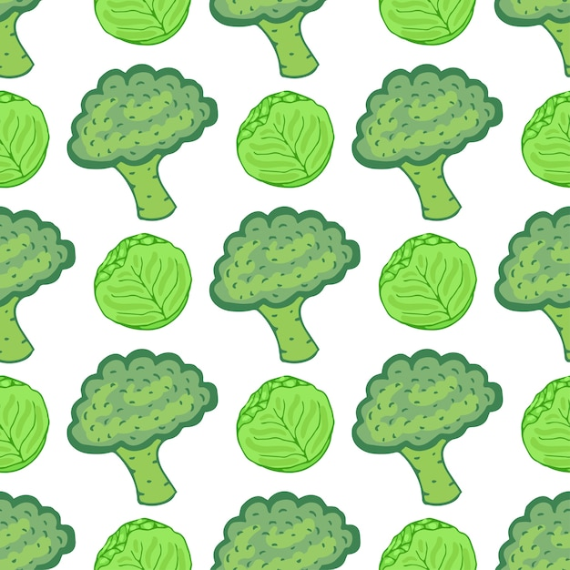 Seamless pattern with cabbage and broccoli. vector illustration with hand drawn healthy vegetable mix. perfect for packaging, wrapping paper design Premium Vector