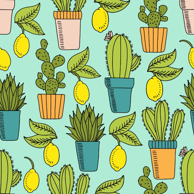 Seamless pattern with cactus and lemons Premium Vector
