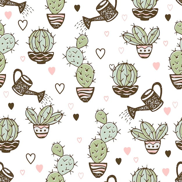 Seamless pattern with cactus in pots and watering pot for irrigation. Premium Vector