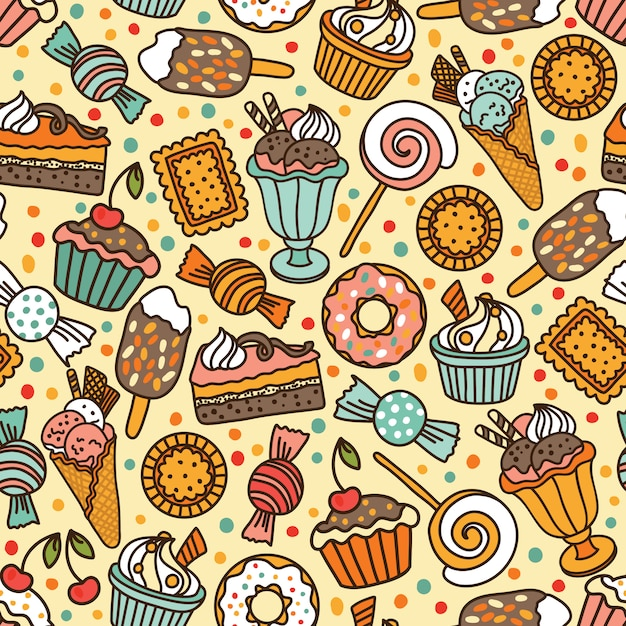 Seamless pattern with candies and sweets Premium Vector
