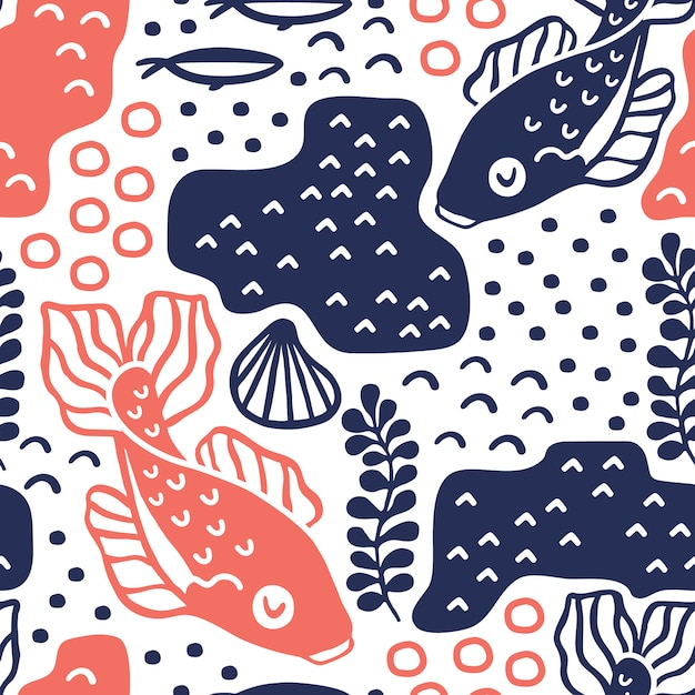 Seamless pattern with carp fishes. Premium Vector
