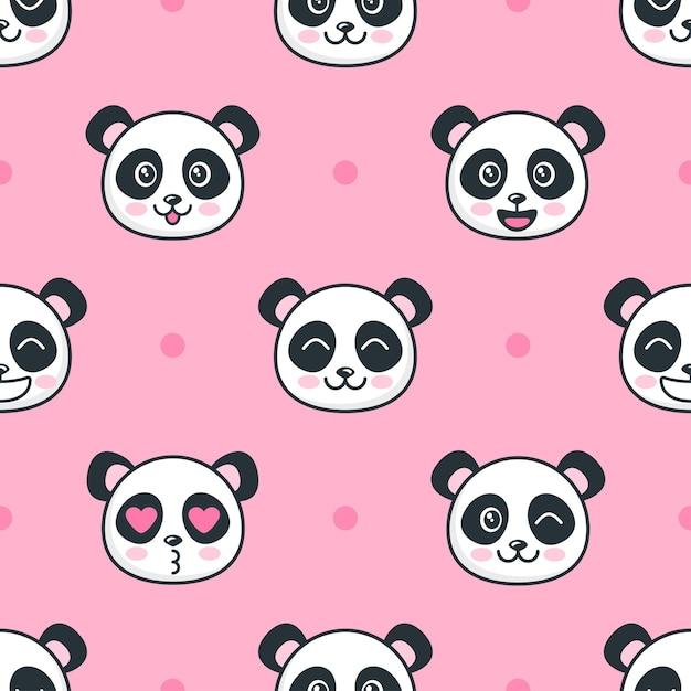 Бесшовный фон с мультяшными смешными лицами панды Premium векторы