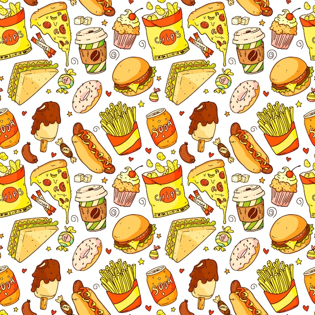 Seamless pattern with cartoon pizza, hamburger, hot dog, coffee, french fries, sandwich, donut, soda, chips. fast food and drink vector illustration Premium Vector