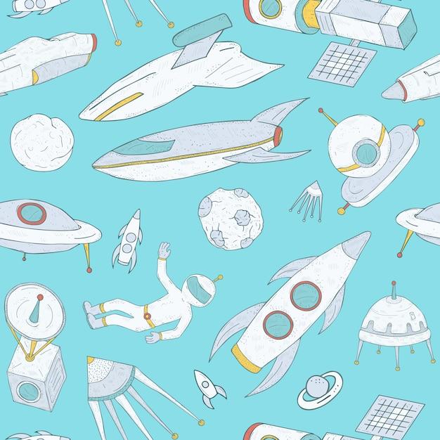 Бесшовный фон с рисованной мультфильм космических объектов на синем Premium векторы