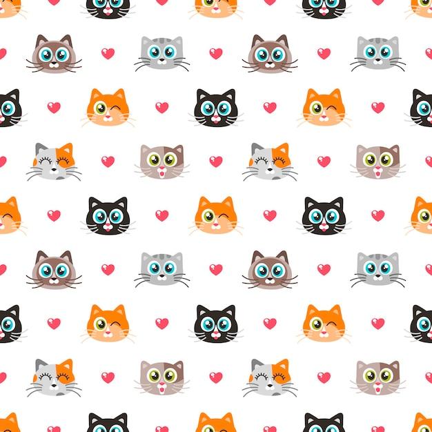 猫と心とのシームレスなパターン Premiumベクター