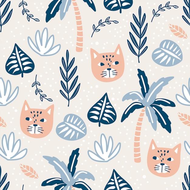 Бесшовный фон с кошками и тропическими растениями. Premium векторы