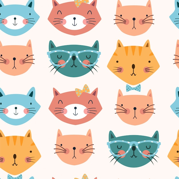 Seamless pattern with cats heads with bows and glasses. Premium Vector