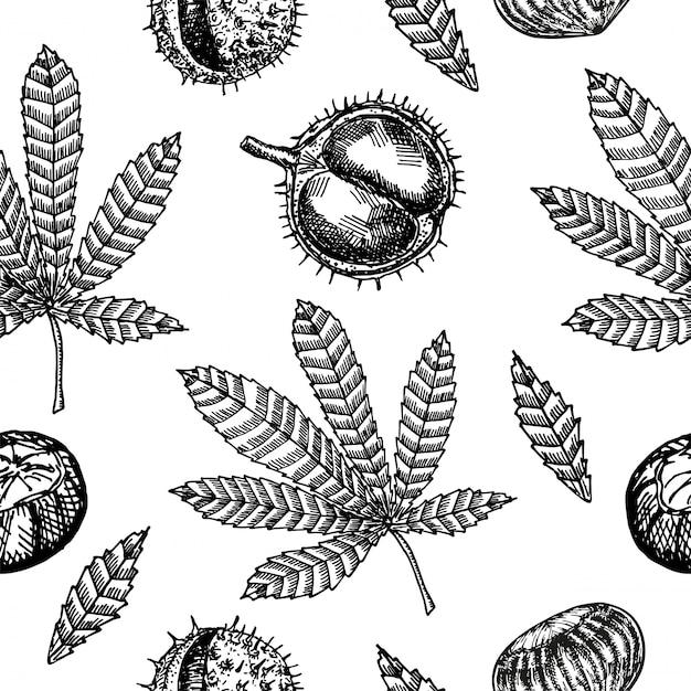 Бесшовный фон с каштанами и осенними листьями. безшовная картина с листьями каштана на предпосылке. ветреные листья. Premium векторы