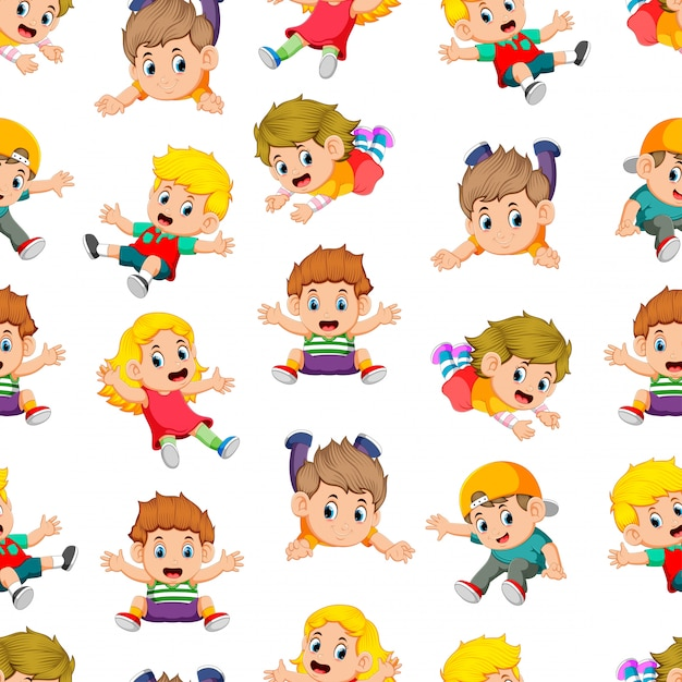 Seamless pattern with children flying Premium Vector
