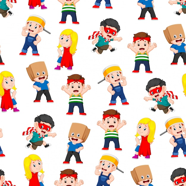 Seamless pattern with children posing like the super heroes Premium Vector