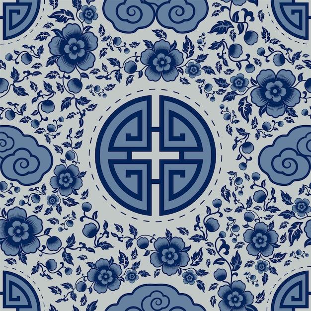 중국 장신구와 완벽 한 패턴 무료 벡터