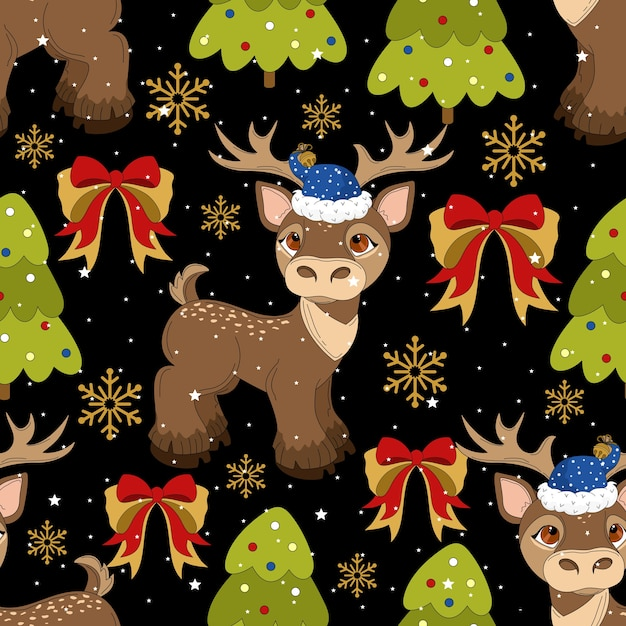 Seamless pattern with a christmas deer on a beautiful background and festive elements.  printing on fabric, paper, postcards, invitations. Premium Vector
