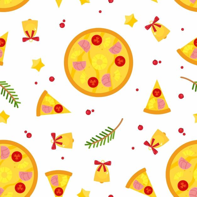 크리스마스 피자, 가문비 나무 가지와 징 글 벨 완벽 한 패턴입니다. 무료 벡터