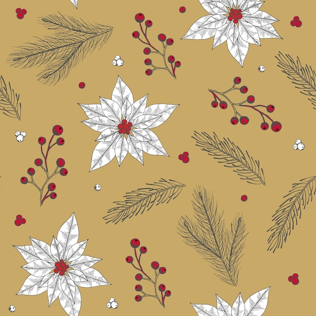 Seamless pattern with christmas tree decorations hand drawn art Premium Vector