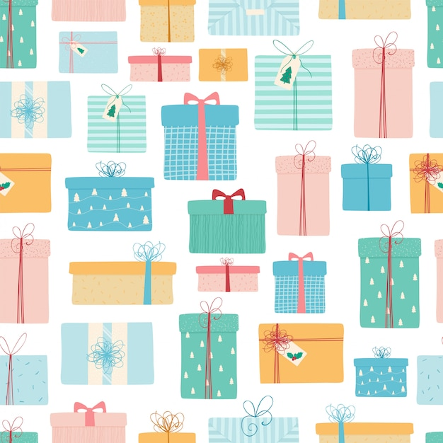 Seamless pattern with christmasgifts Premium Vector