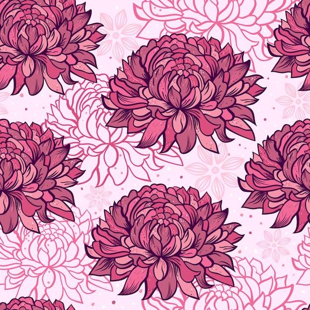 Seamless pattern with  chrysanthemums Premium Vector