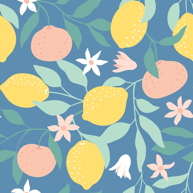Seamless pattern with citrus fruits. Premium Vector