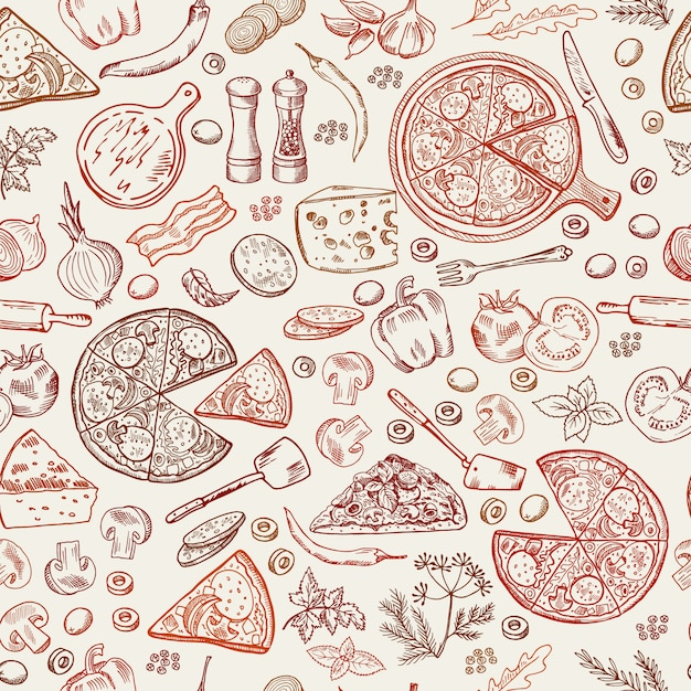 Seamless pattern with classical italian foods. Premium Vector