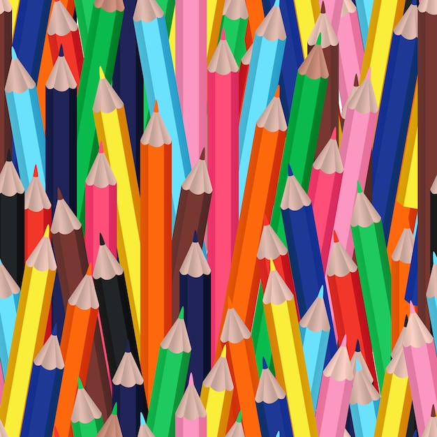 Seamless pattern with clorful or multicolor cartoon pencils Free Vector
