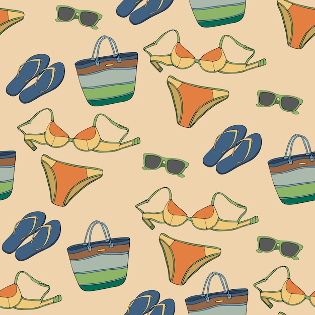 Seamless pattern with clothing and accessories Premium Vector