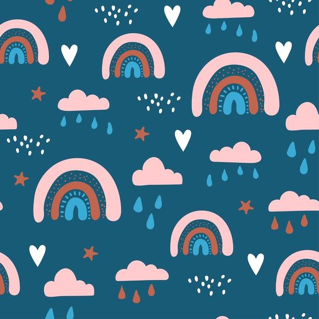 空に雲と虹とのシームレスなパターン。 Premiumベクター