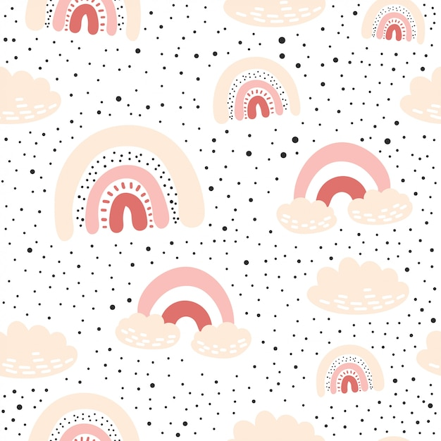 Seamless pattern with cloud and rainbow in the sky Premium Vector