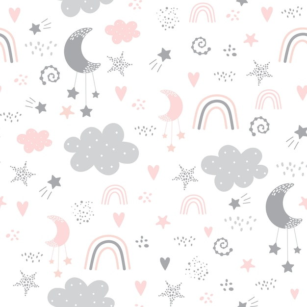 Seamless pattern with cloud, rainbow, stars, moon in the sky. Premium Vector