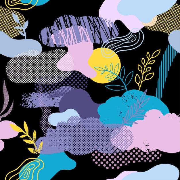 雲、花、グラフィック要素とのシームレスなパターン Premiumベクター