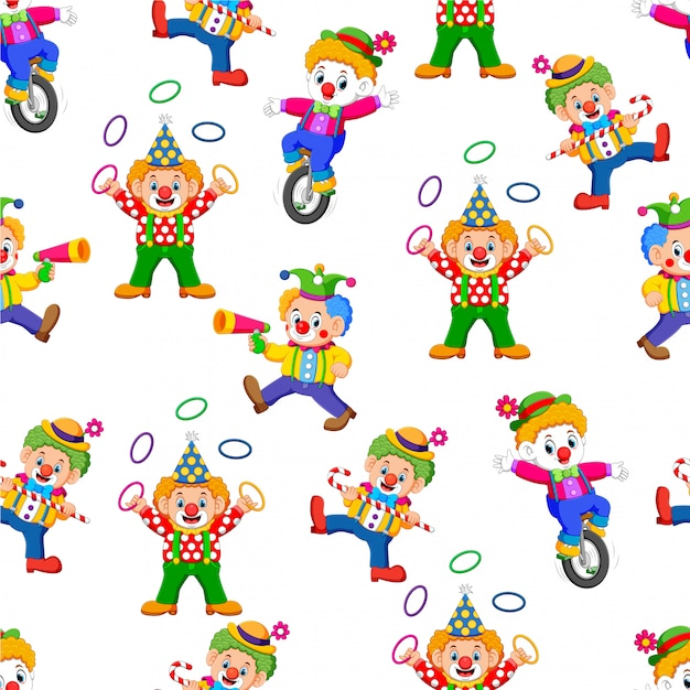 Seamless pattern with clown entertaining people Premium Vector