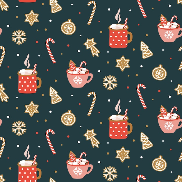 Seamless pattern with cocoa Premium Vector