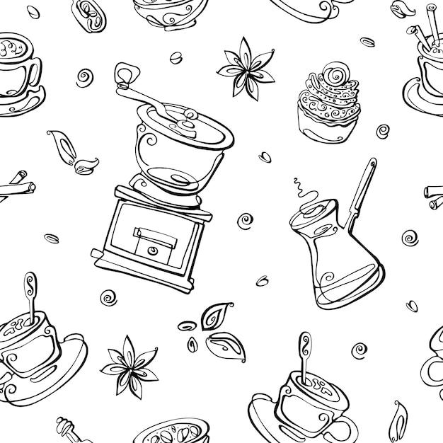 Бесшовные модели с элементами кофе. кофеварка, кофемолка, крупы, американо, чашка, ваниль, корица. Premium векторы