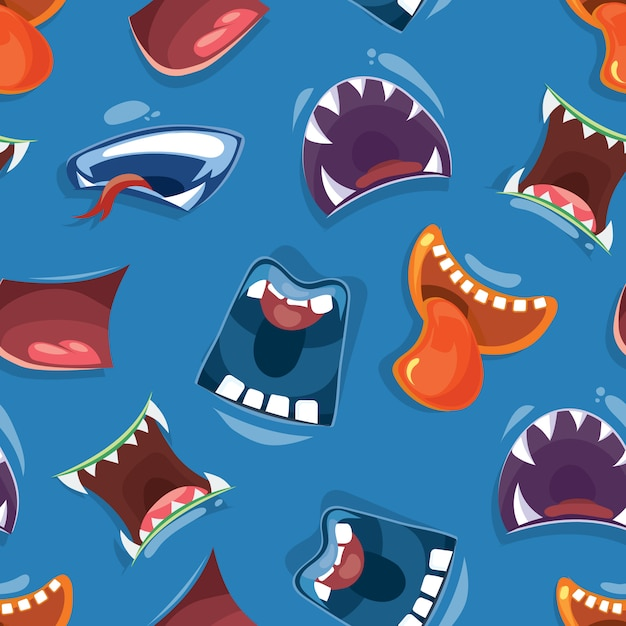 Seamless pattern with color cartoon monster mouths Premium Vector
