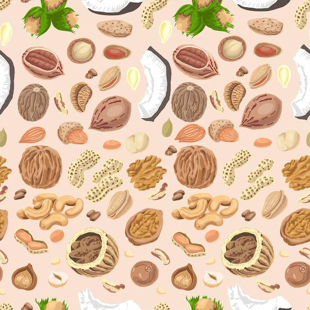 Seamless pattern with colored nuts and seeds Premium Vector