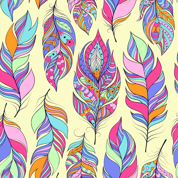 Seamless pattern with colorful abstract feathers Premium Vector