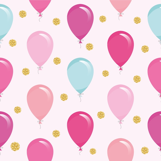 Seamless pattern with colorful balloons and glitter confetti. Premium Vector