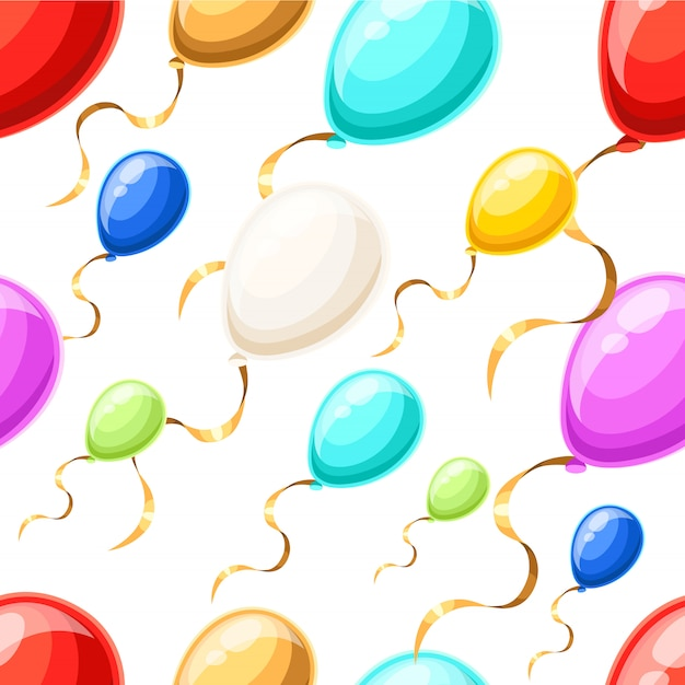 Seamless pattern with colorful balloons with gold ribbon in  style  on white background website page and mobile app Premium Vector