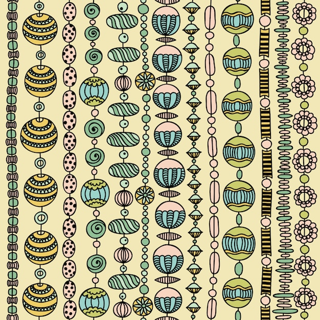 Seamless pattern with colorful beads Premium Vector