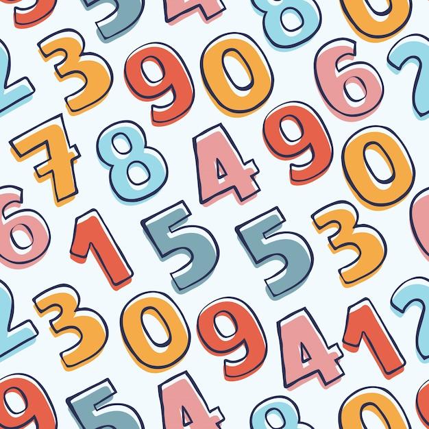 カラフルな落書きの数字とのシームレスなパターン。手描きの背景。 Premiumベクター