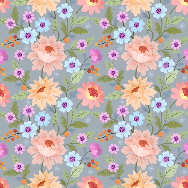 Seamless pattern with colorful flowers vector for fabric textile wallpaper. Premium Vector