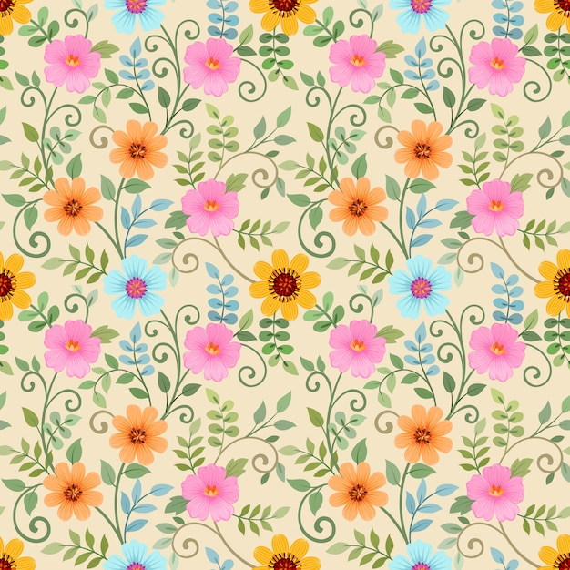 Seamless pattern with colorful flowers on yellow Premium Vector