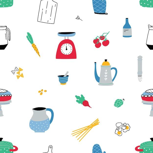 白のカラフルな手描きの台所用品や機器とのシームレスなパターン Premiumベクター