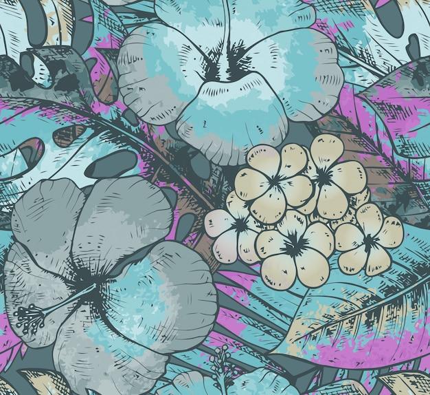 Бесшовный фон с красочными рисованной тропических растений и цветов с акварельной текстурой в синих тонах. летний гавайский фон. Premium векторы