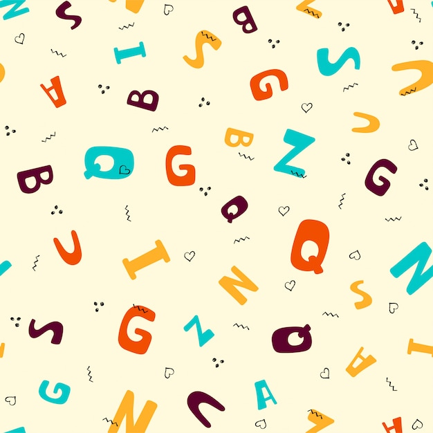 Seamless pattern with colorful letters Premium Vector