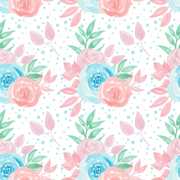 Seamless pattern with colorful roses Premium Vector