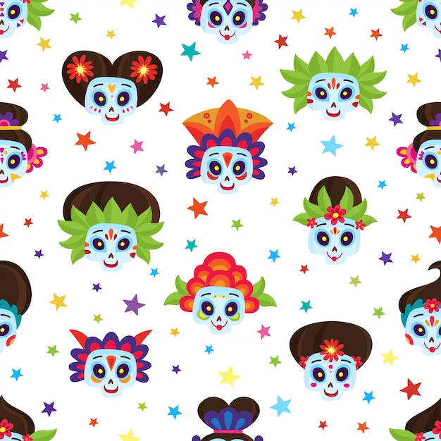 Seamless pattern with colorful skulls and stars for day of dead Premium Vector