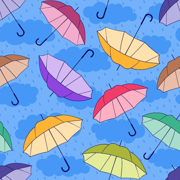 Seamless pattern with colorful umbrellas Premium Vector