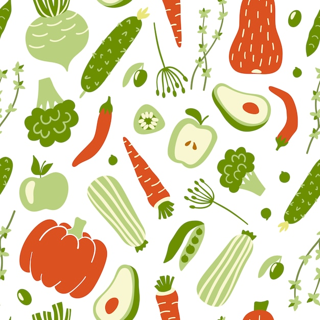 Seamless pattern with colorful vegetables. Premium Vector