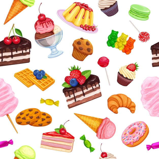 Seamless pattern with confectionery Premium Vector