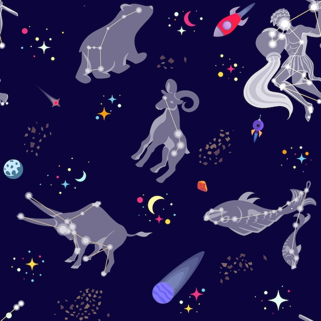 Seamless pattern with constellations and stars Premium Vector