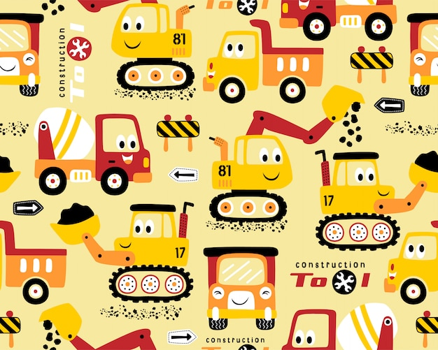 Seamless pattern with construction vehicles cartoon Premium Vector